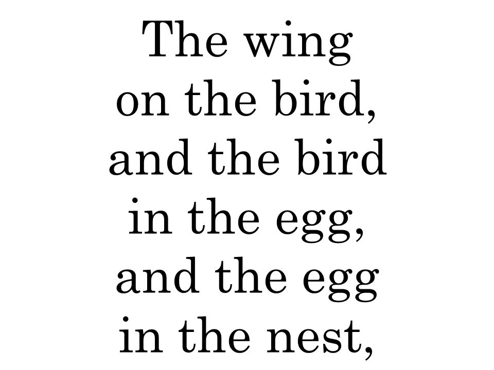 The wing on the bird, and the bird in the egg, and the egg in the nest,