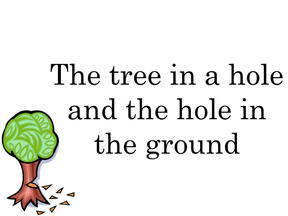 The tree in a hole and the hole in the ground