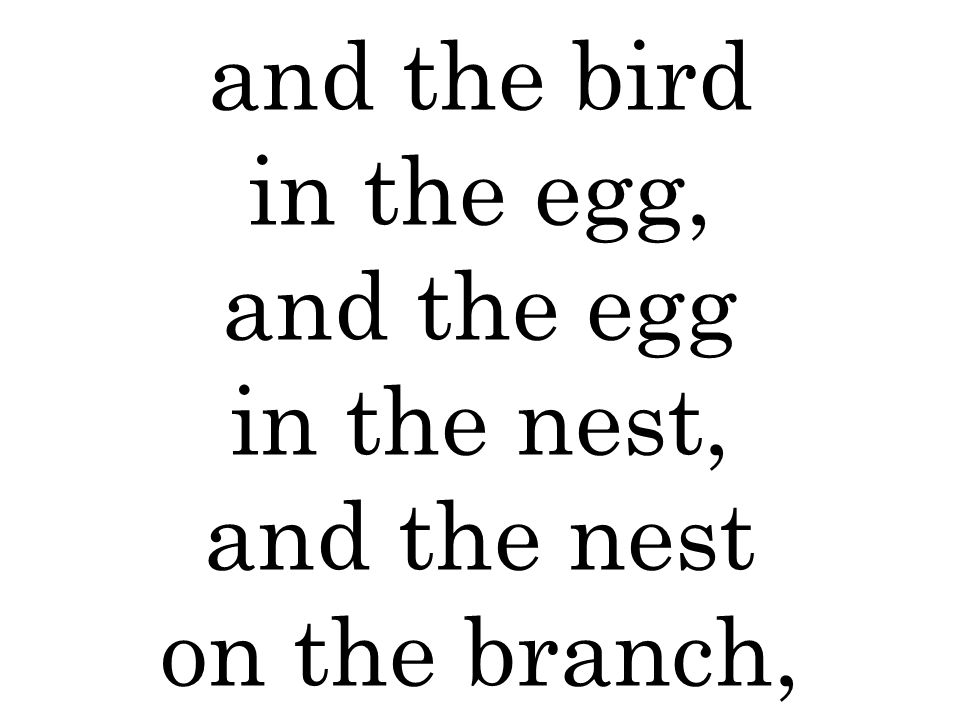and the bird in the egg, and the egg in the nest, and the nest on the branch,