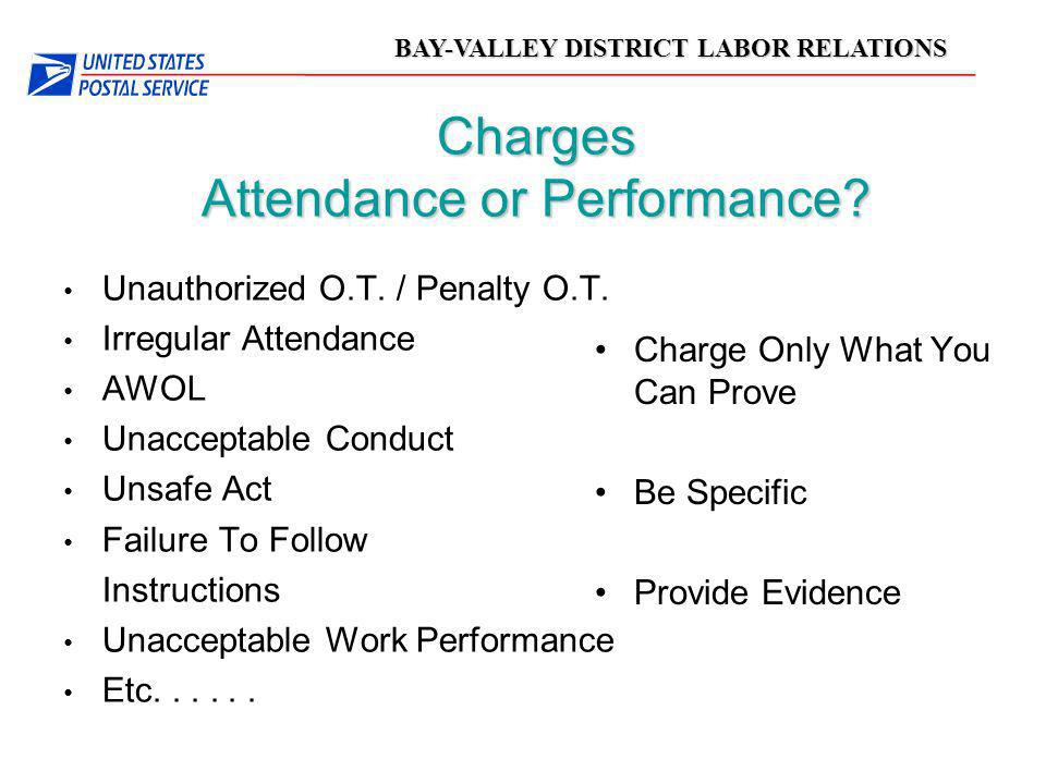 Charges Attendance or Performance