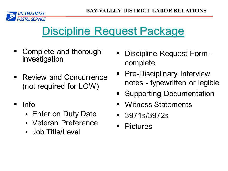 Discipline Request Package