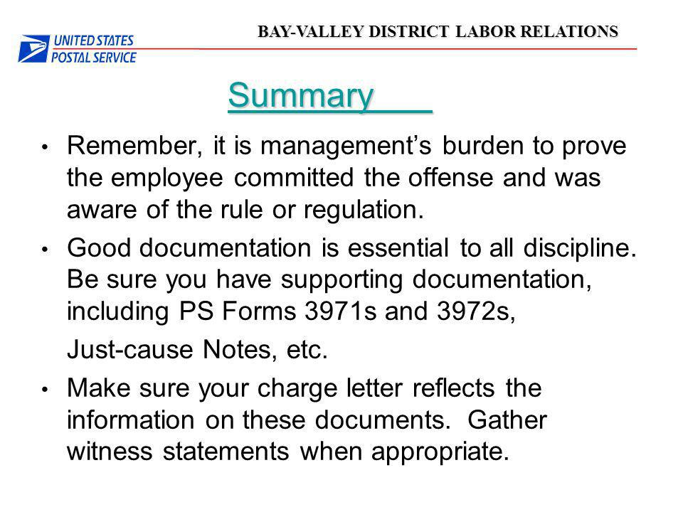 03/24/03 Summary. Remember, it is management's burden to prove the employee committed the offense and was aware of the rule or regulation.