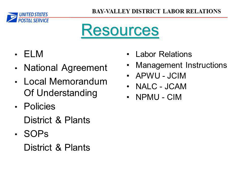 Resources ELM National Agreement Local Memorandum Of Understanding