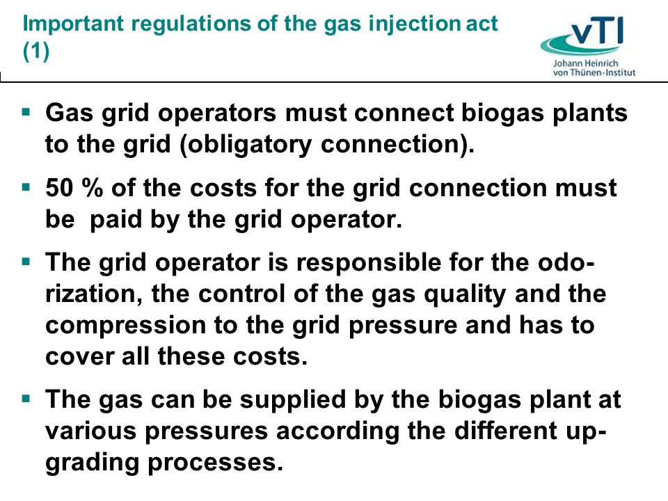 Important regulations of the gas injection act (1)