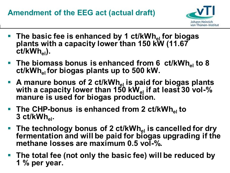 Amendment of the EEG act (actual draft)