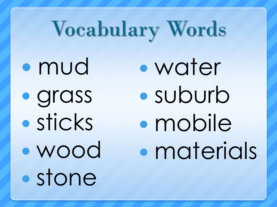 mud water suburb mobile materials Vocabulary Words grass sticks wood