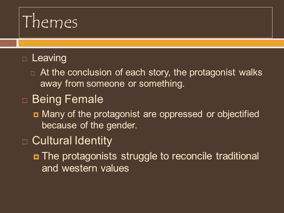 Themes Being Female Cultural Identity Leaving