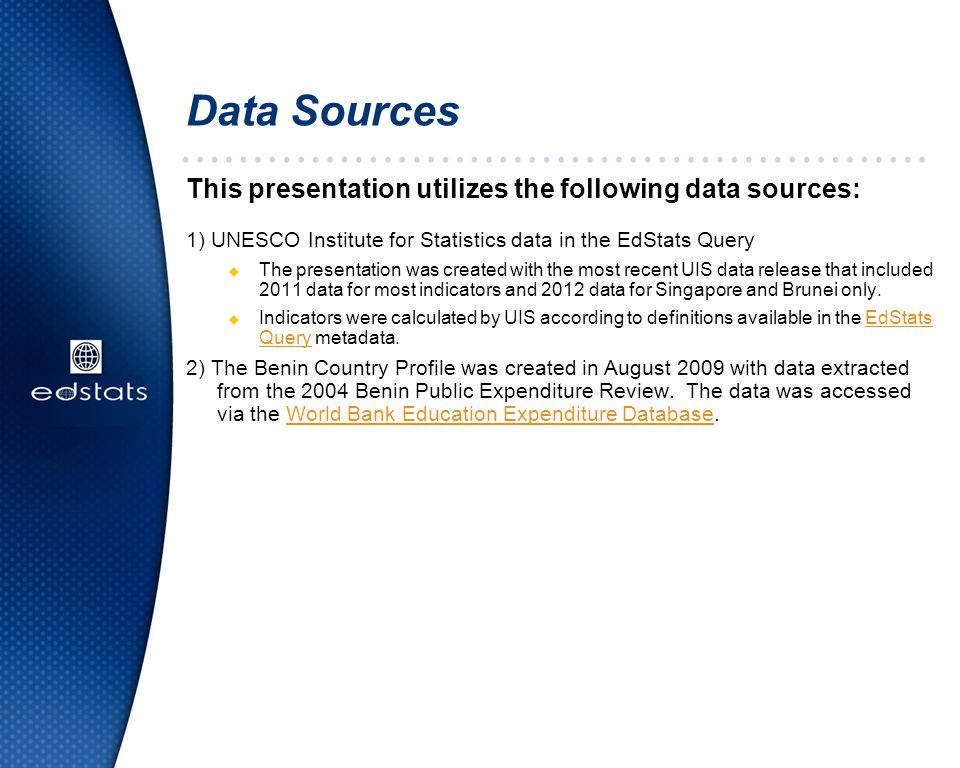 Data Sources This presentation utilizes the following data sources: