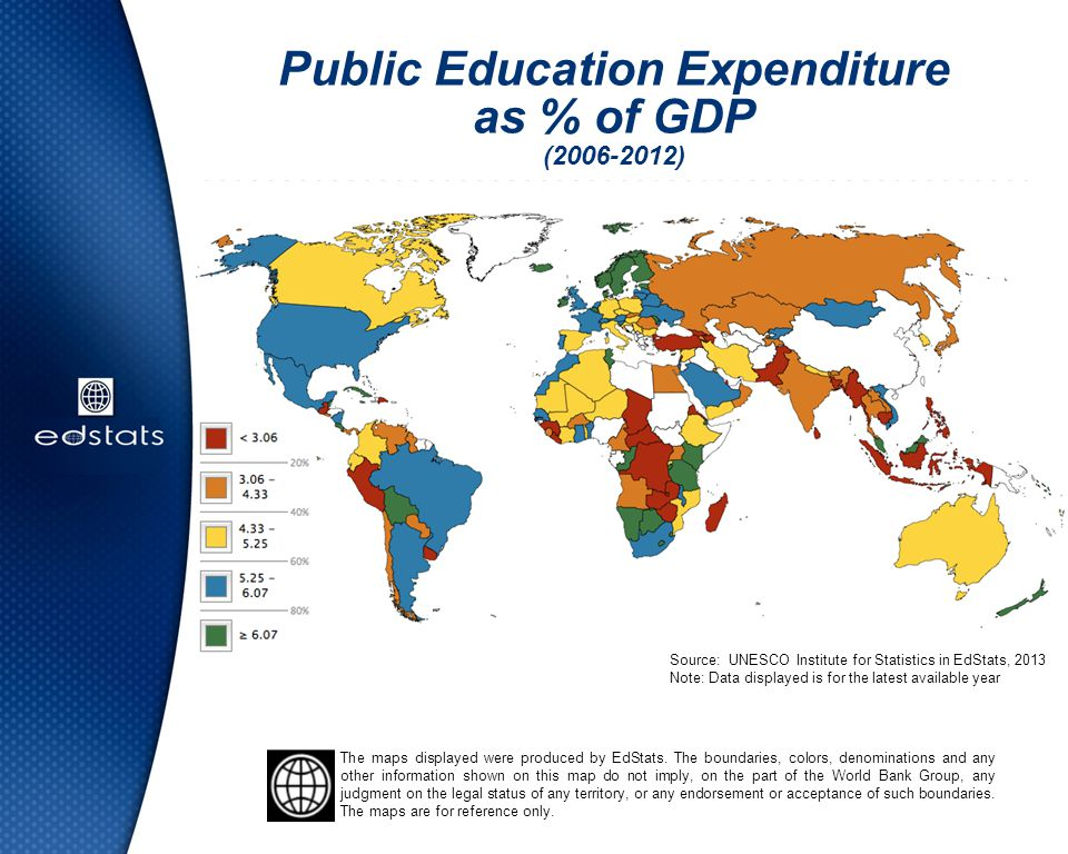Public Education Expenditure as % of GDP (2006-2012)
