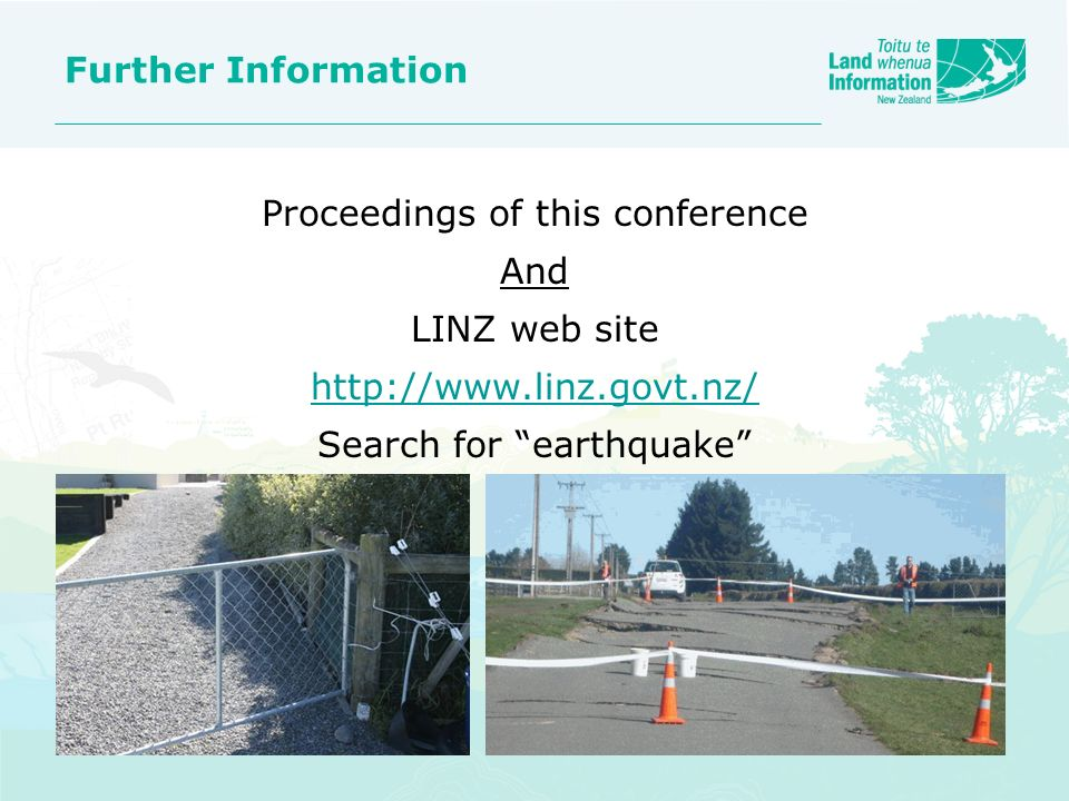 Proceedings of this conference And LINZ web site