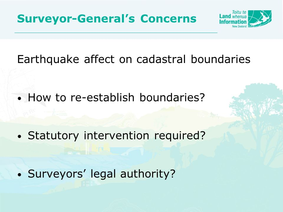 Surveyor-General's Concerns