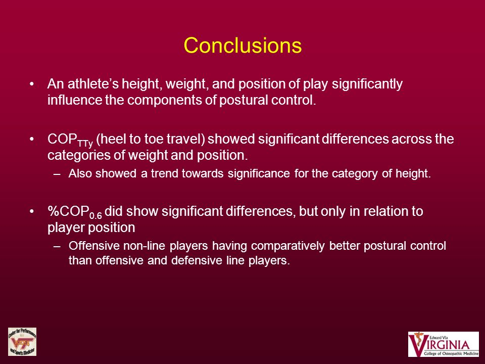 Conclusions An athlete's height, weight, and position of play significantly influence the components of postural control.