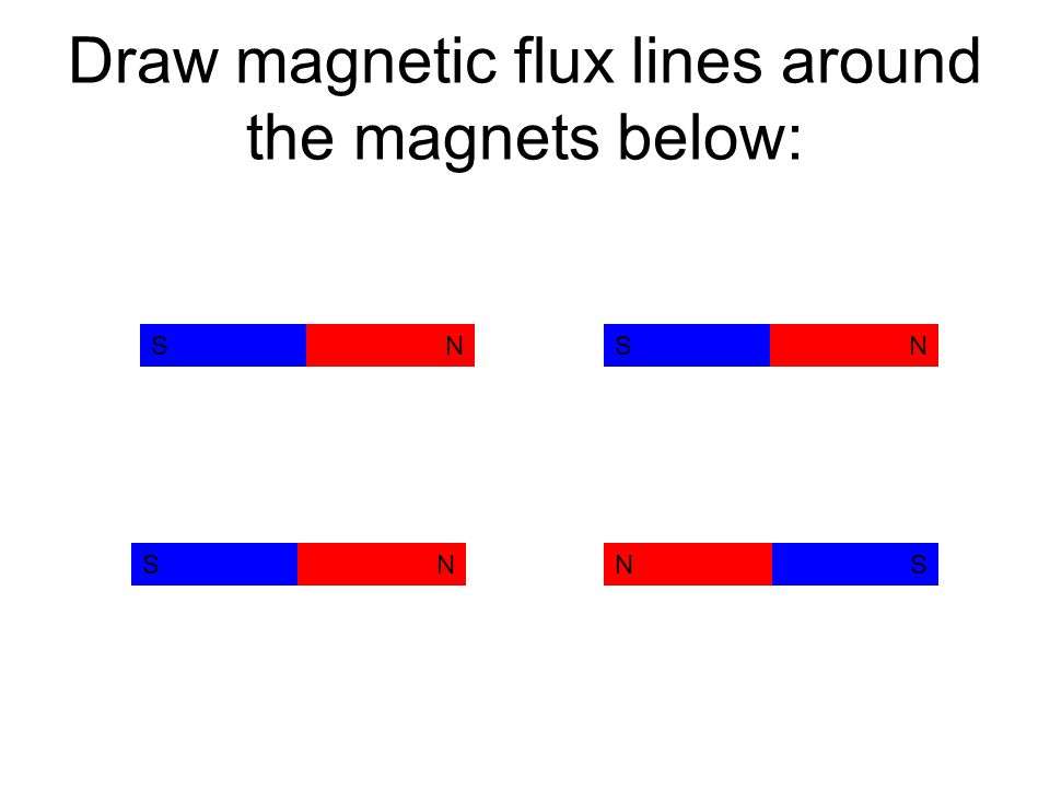 Draw magnetic flux lines around the magnets below: