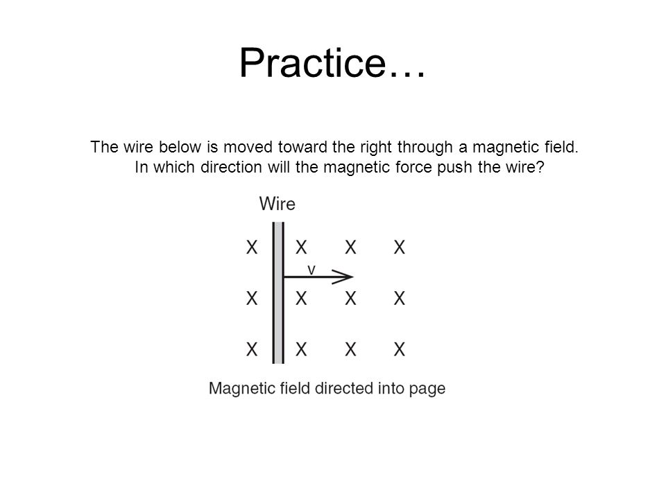 Practice… The wire below is moved toward the right through a magnetic field.