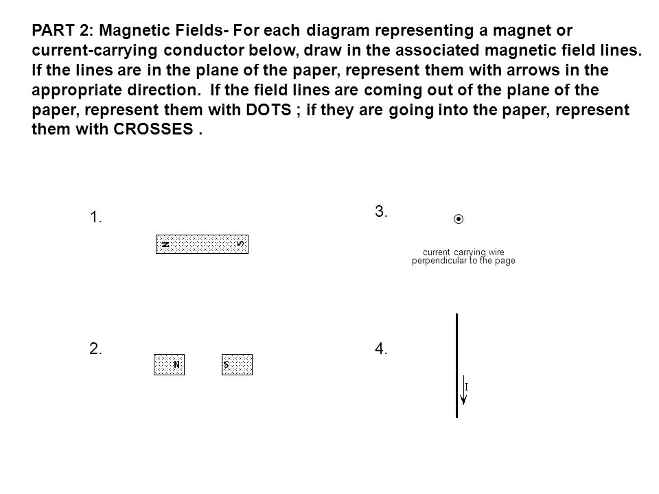PART 2: Magnetic Fields- For each diagram representing a magnet or