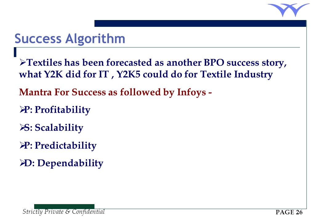 Success Algorithm Textiles has been forecasted as another BPO success story, what Y2K did for IT , Y2K5 could do for Textile Industry.