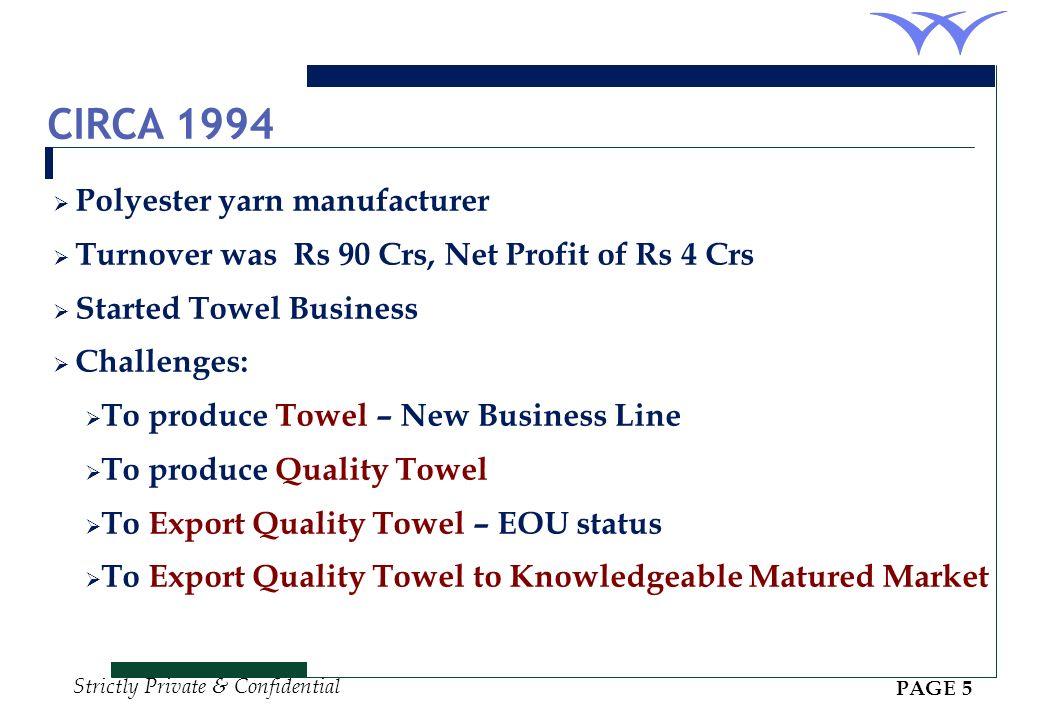 CIRCA 1994 Polyester yarn manufacturer