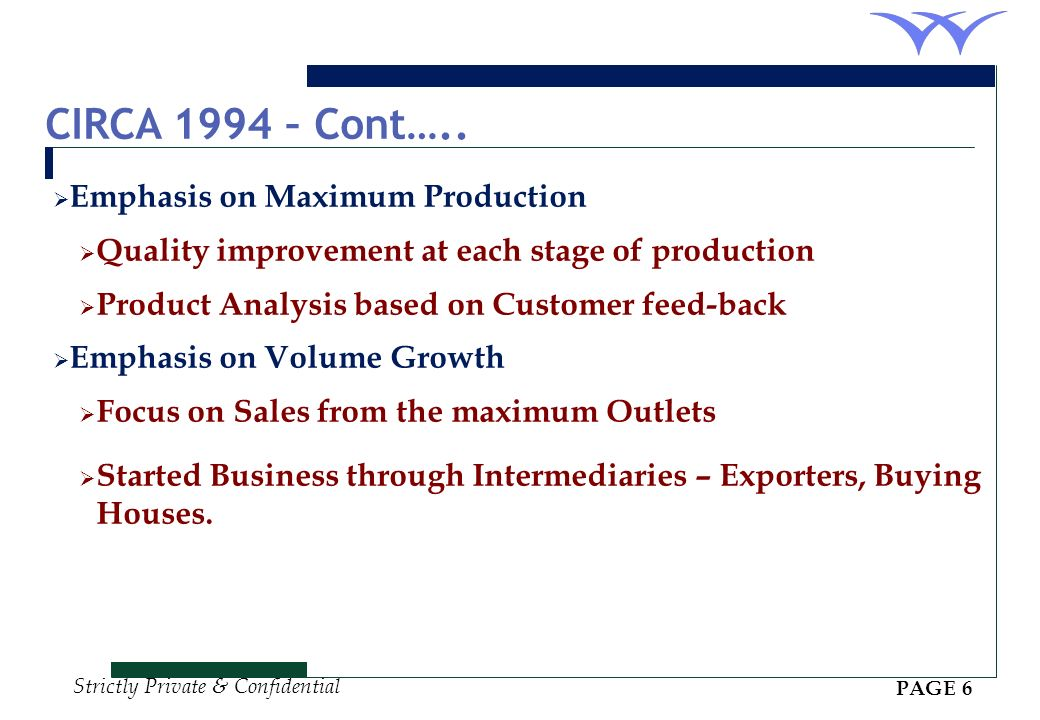 CIRCA 1994 – Cont….. Emphasis on Maximum Production
