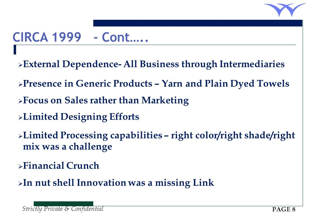 CIRCA 1999 - Cont….. External Dependence- All Business through Intermediaries. Presence in Generic Products – Yarn and Plain Dyed Towels.