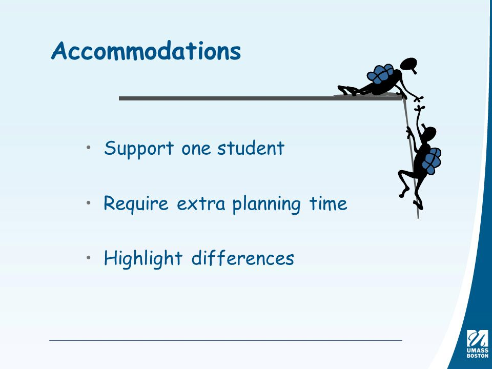 Accommodations Support one student Require extra planning time