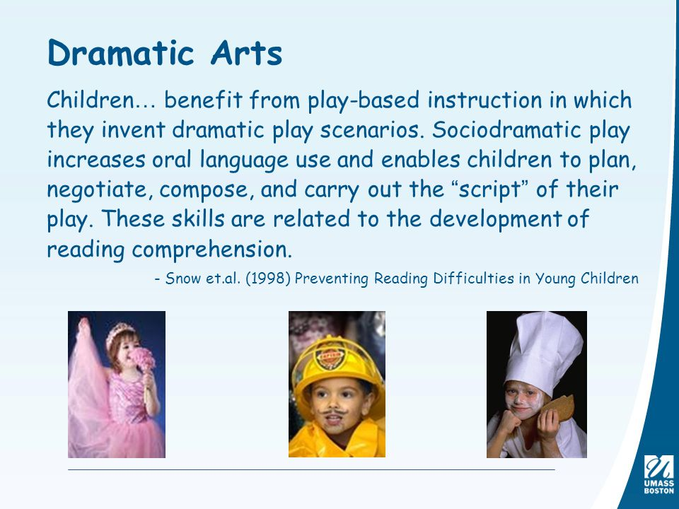 Dramatic Arts Children… benefit from play-based instruction in which