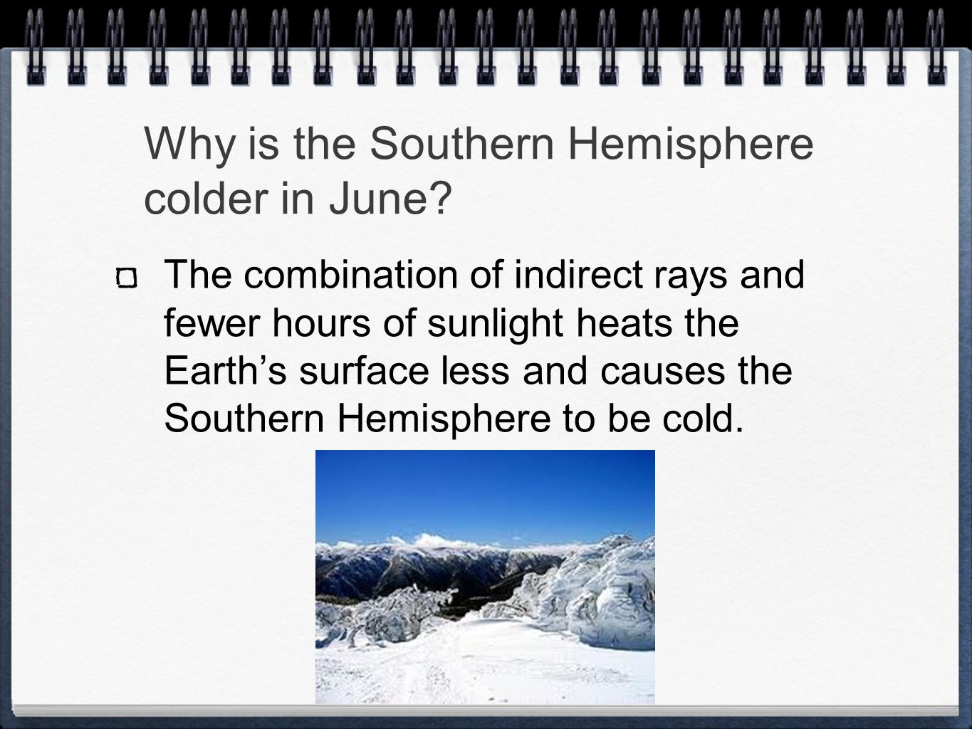 Why is the Southern Hemisphere colder in June