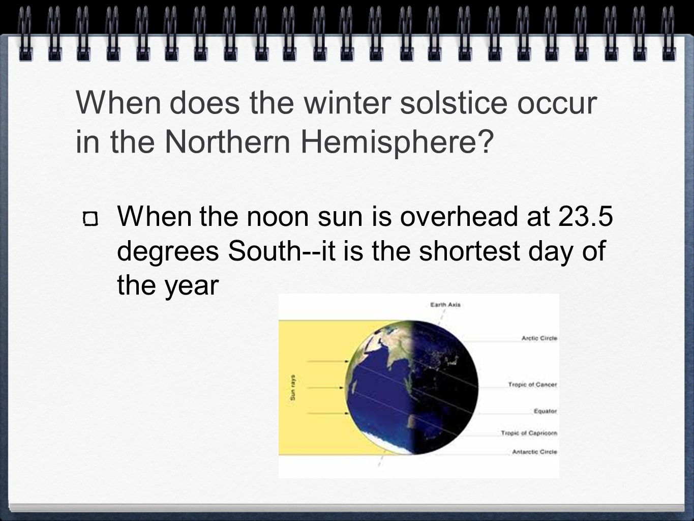 When does the winter solstice occur in the Northern Hemisphere