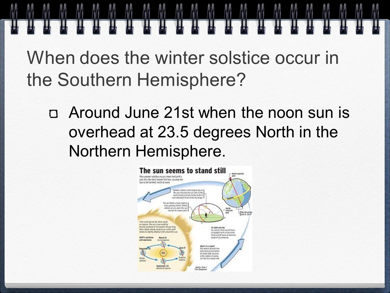 When does the winter solstice occur in the Southern Hemisphere