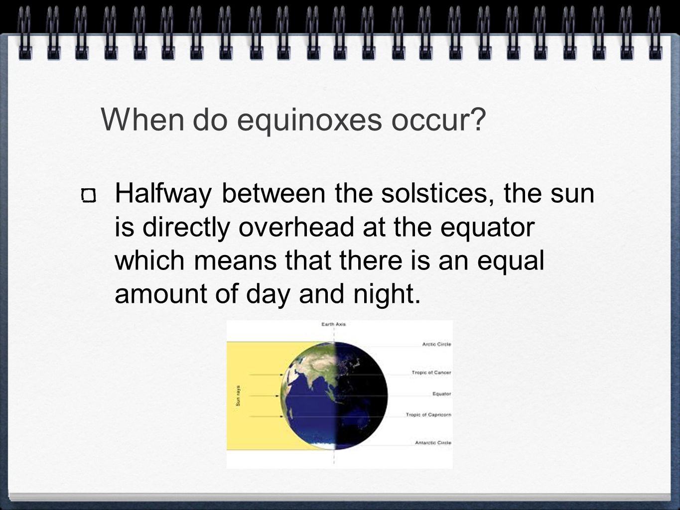 When do equinoxes occur