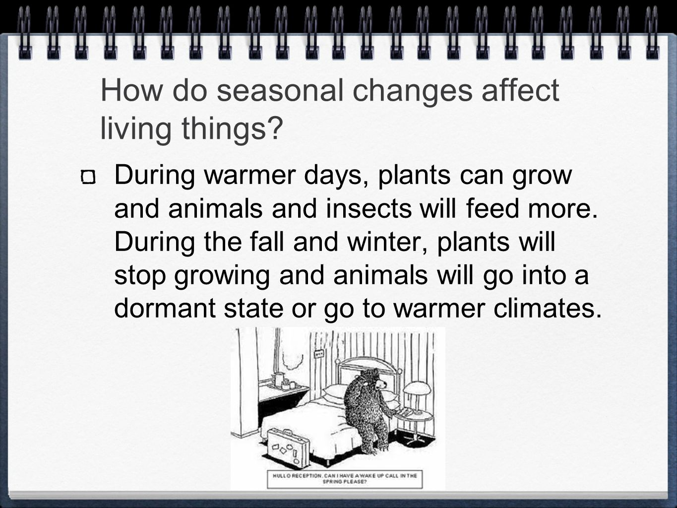 How do seasonal changes affect living things