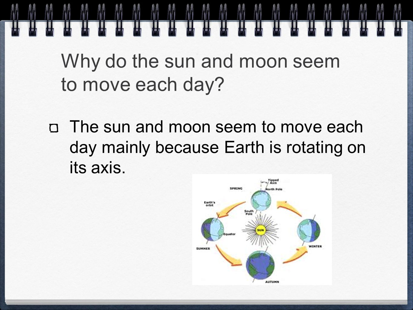 Why do the sun and moon seem to move each day