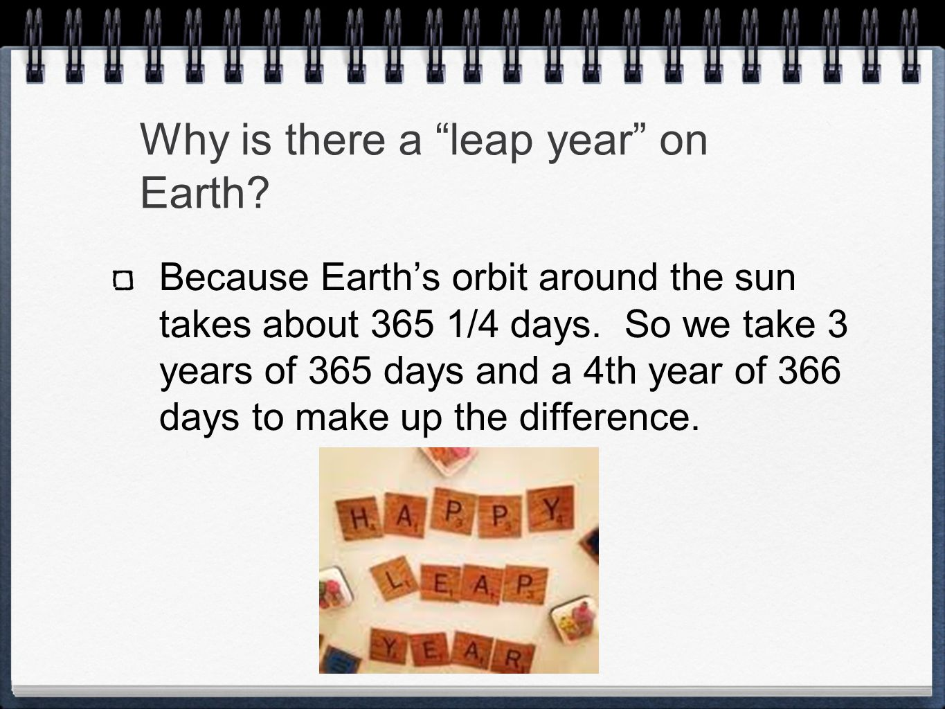 Why is there a leap year on Earth