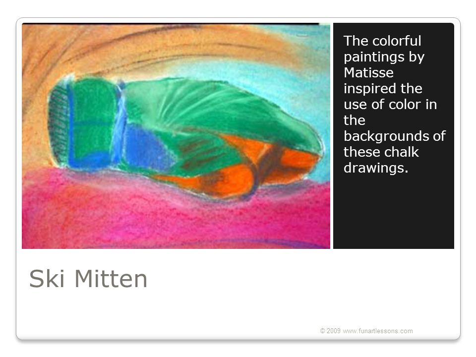 The colorful paintings by Matisse inspired the use of color in the backgrounds of these chalk drawings.