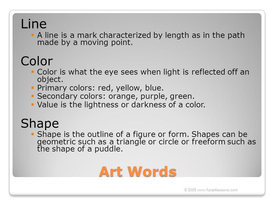 Art Words Line Color Shape