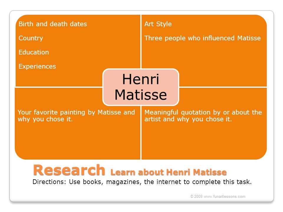 Henri Matisse Birth and death dates. Country. Education. Experiences. Art Style. Three people who influenced Matisse.