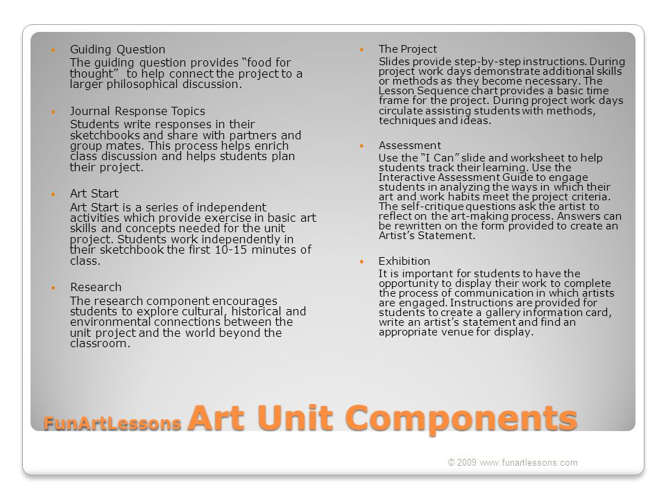 FunArtLessons Art Unit Components