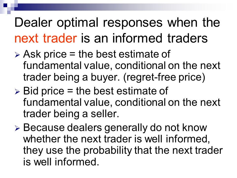 Dealer optimal responses when the next trader is an informed traders