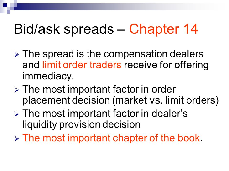 Bid/ask spreads – Chapter 14