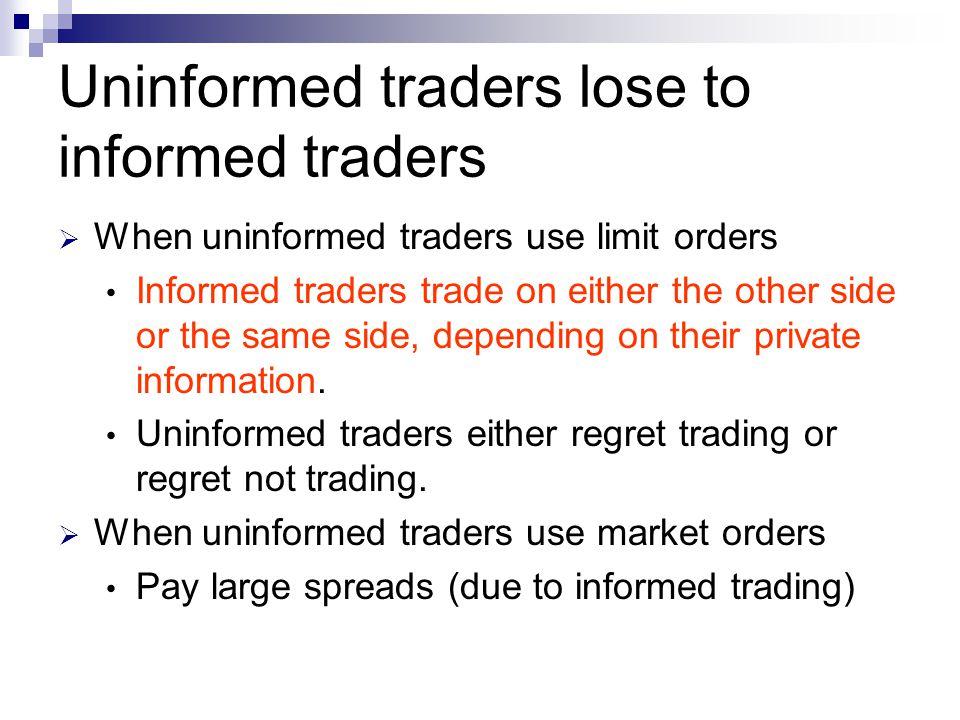 Uninformed traders lose to informed traders