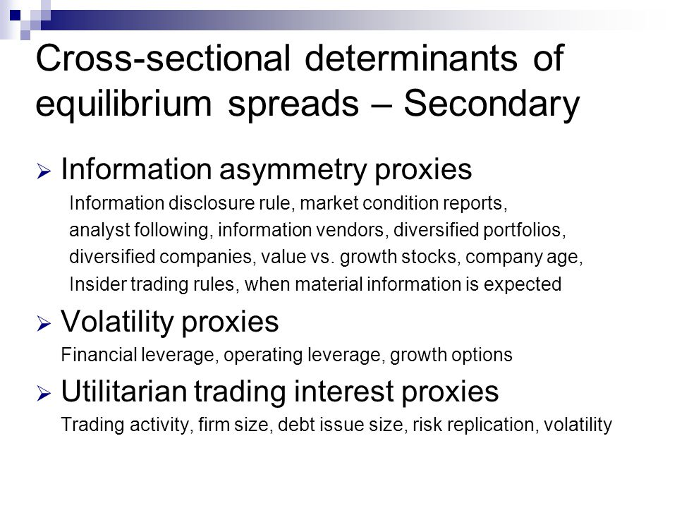 Cross-sectional determinants of equilibrium spreads – Secondary
