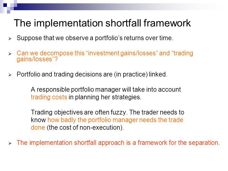 The implementation shortfall framework