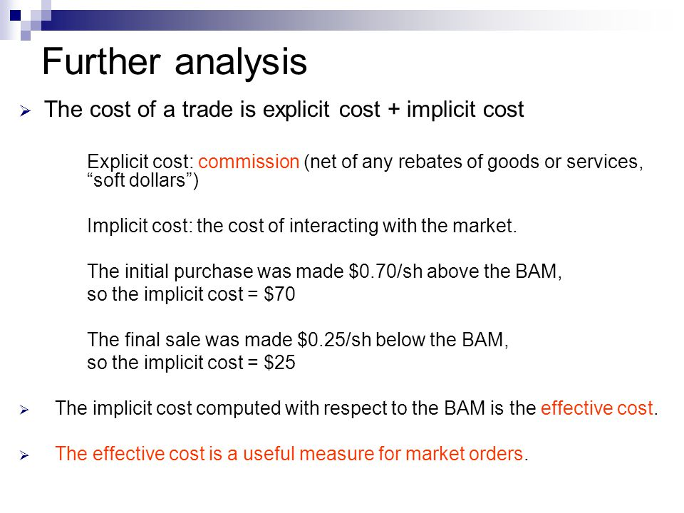Further analysis The cost of a trade is explicit cost + implicit cost