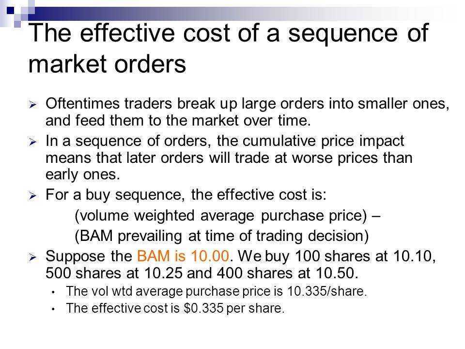 The effective cost of a sequence of market orders