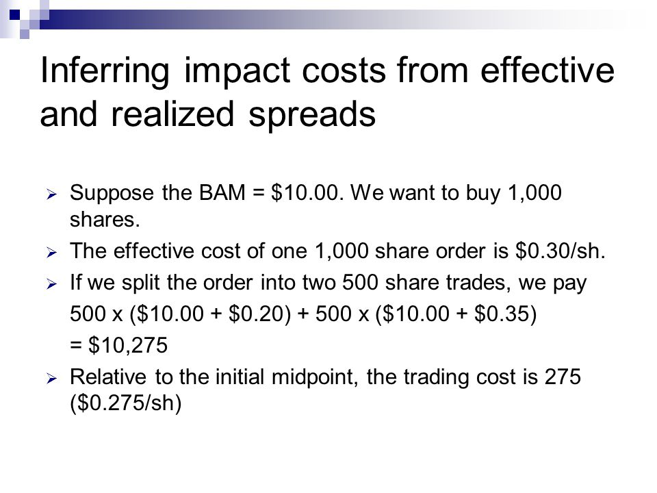 Inferring impact costs from effective and realized spreads