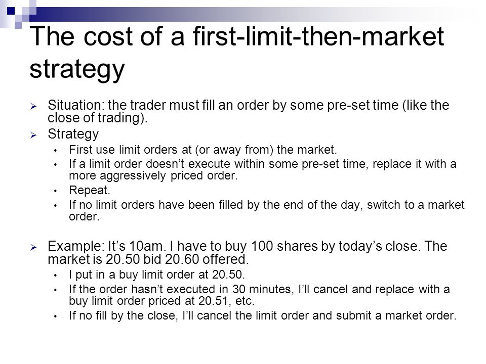 The cost of a first-limit-then-market strategy