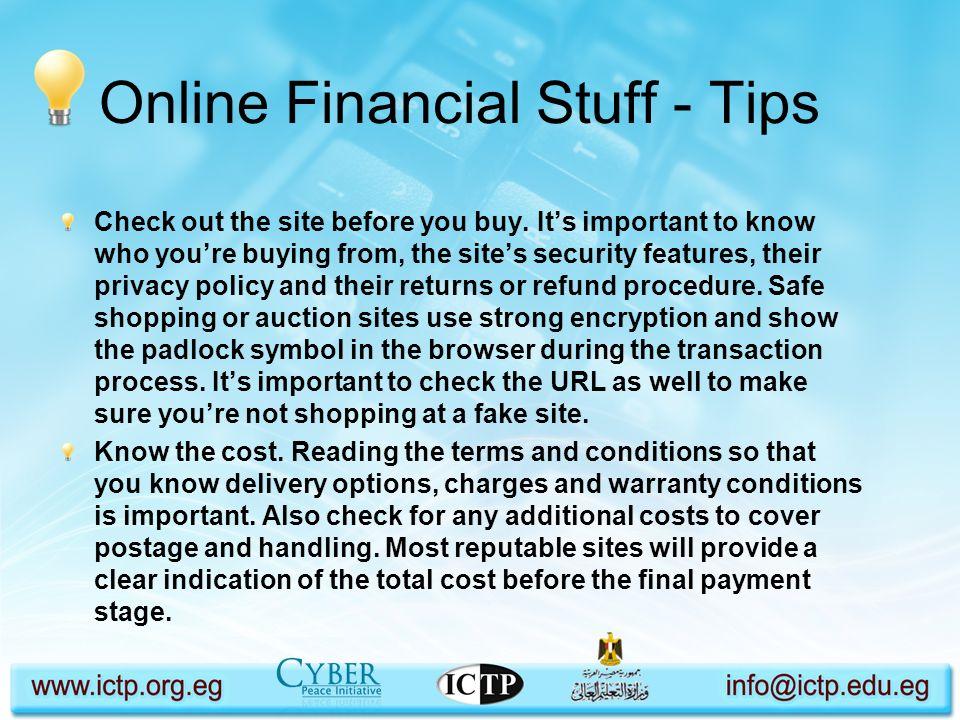 Online Financial Stuff - Tips