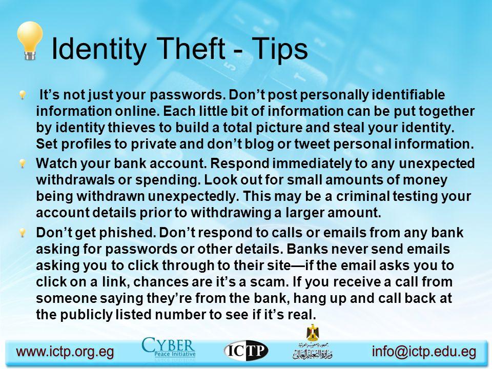 Identity Theft - Tips