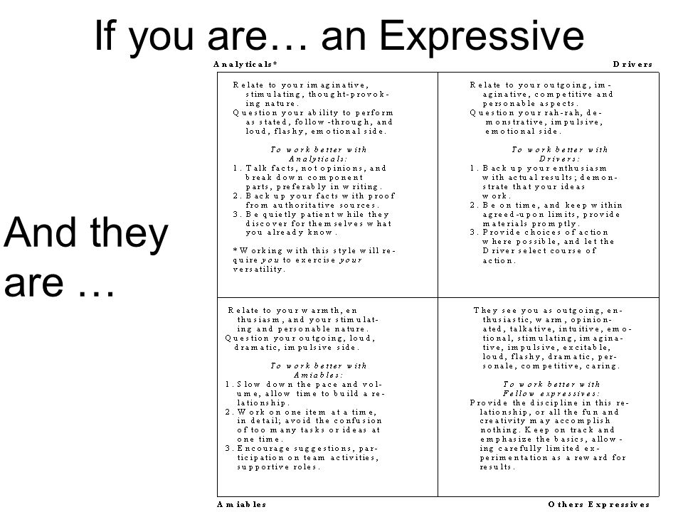 If you are… an Expressive