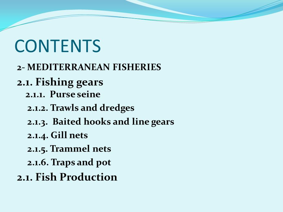 CONTENTS 2.1. Fishing gears 2.1.1. Purse seine 2.1. Fish Production