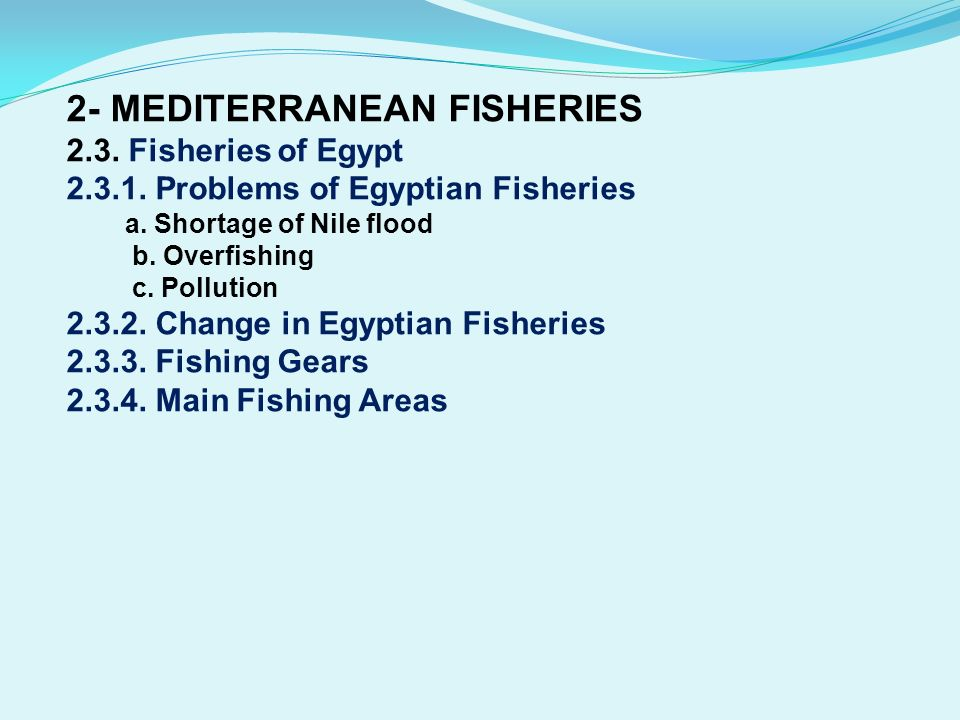 2- MEDITERRANEAN FISHERIES 2. 3. Fisheries of Egypt 2. 3. 1